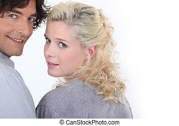 Couple looking backward
