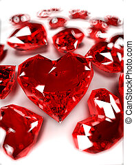 Heart rubies - 3d rendered illustration of some heart-shaped...