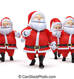 Some little santas - 3d rendered illustration of some little...