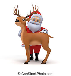 Santa and reindeer - 3d rendered illustration of a little...