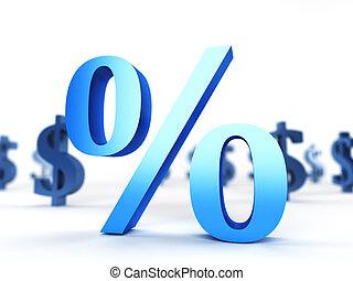 Percentage sign - 3d rendered illustration of a percentage...