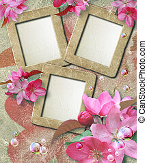 Grunge frame with cherry and paper - Old grunge photo frame...