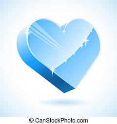 3D ice heart vector illustration.