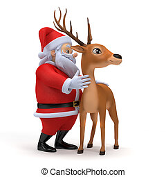 Santa claus - 3d rendered illustration of a little santa and...