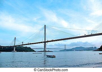 Ting Kau Bridge at day in Hong Kong
