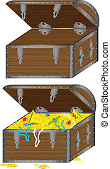 chest - The vector image of a wooden chest with treasures...