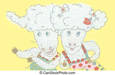 sheeps - Image of two happy girlfriends sheeps