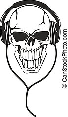skull in stereo ear-phones - Vector image of human skull in...