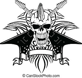 skull withguitars - Vector image of a human skull with...