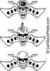 skull guitars - Vector image of human skull with crossed...