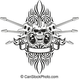 skull with guitars - Vector image of a human skull with...