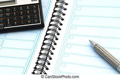 agenda pen and calculator