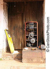 Gas pump - Disordered gas pump opened and with exposed...