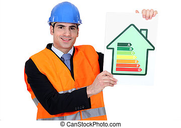 Man with energy rating sign