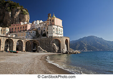 Atrani (SA), italian fishing village, landscape from beach