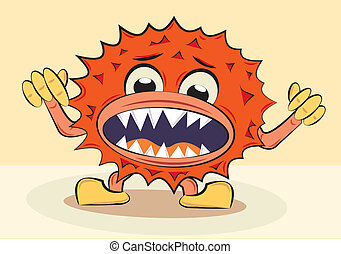 cartoon funny angry bacillus, vector illustration