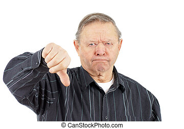 Old man thumbs down - Funny face grumpy old man frowning...