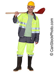 Building worker in work outfit