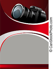 Vector Background with digital camera - Vector Red...