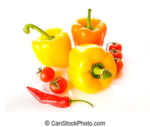 paprica - Three peppers over white