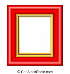 red frame with gold passepartout isolated on white...