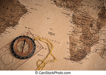 Compass - compass on old world map