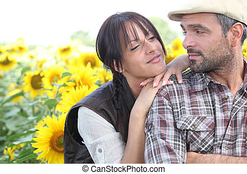 Couple in a field of sunflowers