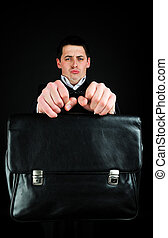 briefcase - Young man hold suitcase