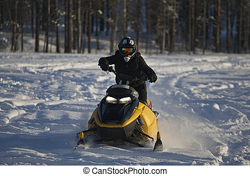 Snowmobile Girl - Snowmobile Action Girl in Powder Snow