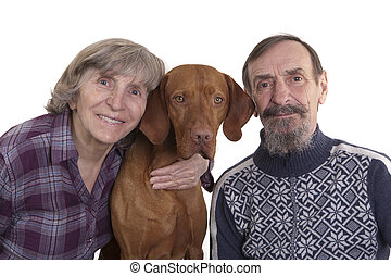 retired couple with their dog