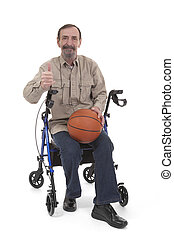thumbs up for disability sports - man giving a thumb up for...