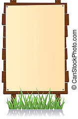 Vertical Wood Billboard - Illustration of a cartoon vertical...