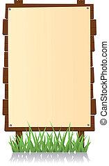 Vertical Wood Billboard - Illustration of a cartoon vertical...
