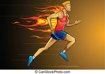 Fiery Runner - illustration of man running fast as fire...