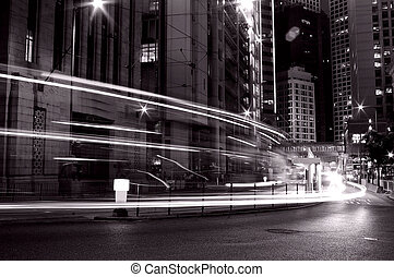 Busy traffic in Hong Kong at night in black and white - It...