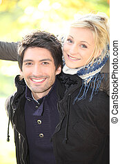 Young couple on an autumnal day