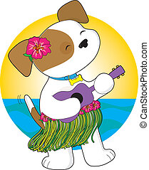 Cute Puppy Hawaii - A cute puppy in a grass skirt, with a...