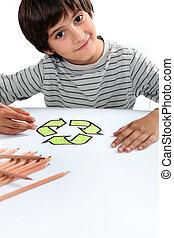boy colouring recycling logo