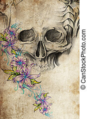 Tattoo design with skull with flowers on vintage paper -...