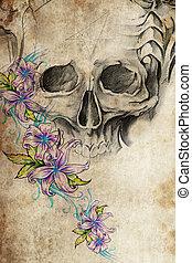 tatuaje, diseño, cráneo, flores, vendimia,...