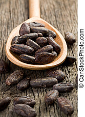 cocoa beans in wooden spoon