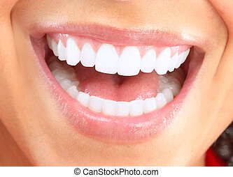 Happy smiling woman Dental health background