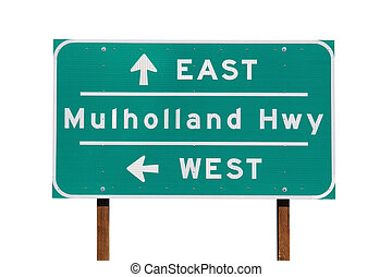 Mulholland Hwy Sign in Los Angeles - Mulholland Highway sign...