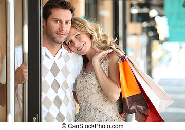 Couple shopping in town