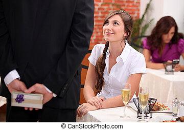 Man woman waiting at restaurant