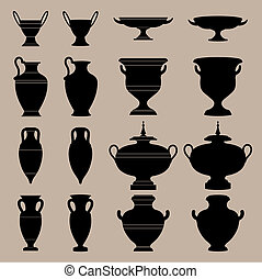 Antique vase - The silhouettes of ancient vessels. Vector...