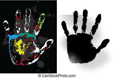Abstract grunge hand style. Vector art