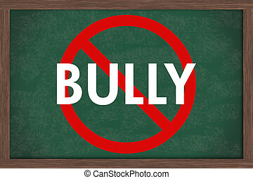 No bullying at schools - A chalkboard with the chalk letters...