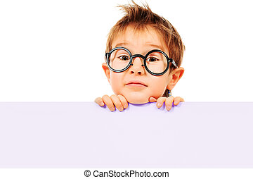 outlook - Portrait of a little boy in spectacles with white...