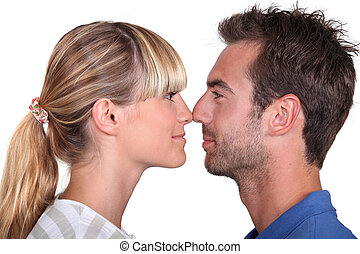 Couple stood face to face